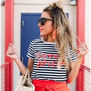 🆕Kate Spade extra spicy striped tassel tee XS